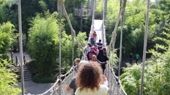 People on suspended bridge in Adventureland of Disneyland Stock Footage