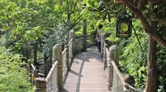 Woman walks in summer park with wooden path with bridge Stock Footage