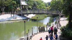 People on bridge in Adventureland of Disneyland in Paris, France. Stock Footage