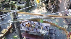Top view of tropical hut and stream among stones at summer day Stock Footage