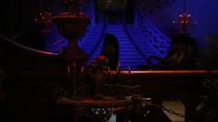 Stairs with lighting in Phantom manor in Disneyland in Paris, France. Stock Footage