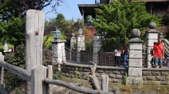 Phantom manor and people in Frontierland of Disneyland Stock Footage