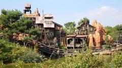 Roller coaster train in Frontierland of Disneyland Stock Footage