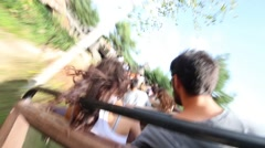 Movement on roller coaster in Frontierland of Disneyland Stock Footage