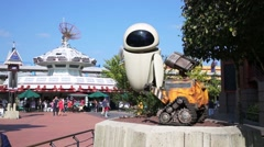 Wall-e and Eva in Discoveryland of Disneyland in Paris, France. Stock Footage