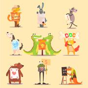 Cute Animals Cartoon Illustrator Flat Design Stock Illustration