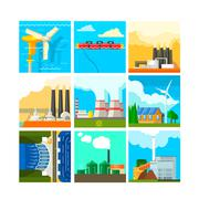 Energy Sources Symbols Set. Vector Illustration - stock illustration