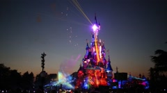 Castle and beautiful show at night in Disneyland in Paris, France. Stock Footage