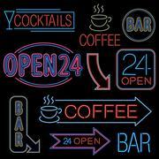 Neon Open Sign Stock Illustration