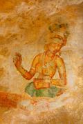 Ancient famous wall paintings (frescoes) at Sigirya, Sri Lanka Stock Photos