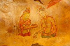 Ancient famous wall paintings (frescoes) at Sigirya, Sri Lanka Stock Photos