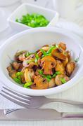 fried mushrooms - stock photo