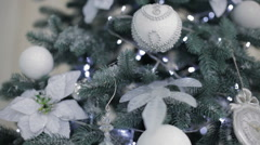 Beautiful fir-tree with christmas decorations - stock footage