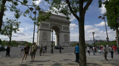Place Charles de Gaulle signpost, near the Arc de Triomphe in Paris Stock Footage