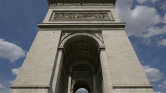 Battle of Jemmapes on the eastern facade of Arc de Triomphe, Paris Stock Footage
