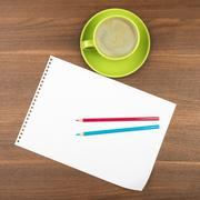 Blank paper with coffee - stock photo