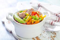 baked vegetables with meat - stock photo