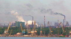 Pollution Of Environment Caused By Factory Smoke Stacks Stock Footage