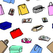 Seamless background with gift boxes and shopping bag - stock illustration