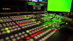 Director broadcast video mixer operation - Close-up of hand Stock Footage