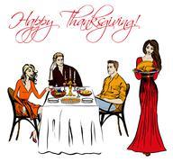 Thanksgiving dinner isolated - stock illustration