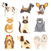Collection of Cats and Dogs Different Breeds. Vector Illustration - stock illustration