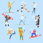 Winter Sports and Activities. Vector Illustration Set - stock illustration