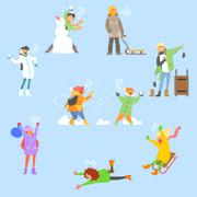 Winter Fun and Activities. Vector Illustration Set - stock illustration