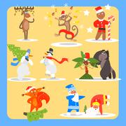 Christmas and New Year Icon Set. Vector Illustration Collection Stock Illustration