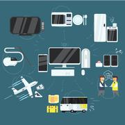 Stock Illustration of Internet Technology, Devices and Opportunities Icons Set, Vector