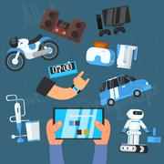 Stock Illustration of Internet Technology and Devices Icons Set, Vector