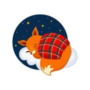 Cute Cartoon Fox Sleeping on a Cloud, Covered with Blanket. Vector Illustration - stock illustration