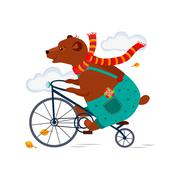 Bear Riding a Bicycle in  Scarf iAutumn. Vector Illustration Stock Illustration