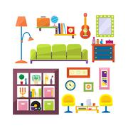 Modern furniture set in flat style vector - stock illustration