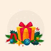 Christmas Decoration with Fir and Gift. Vector Illustration - stock illustration