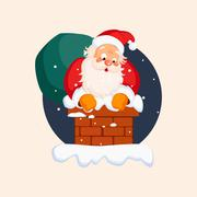 Santa Claus in Chimney on Christmas Eve. Vector Illustration - stock illustration