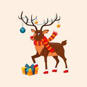 Deer with a Christmas Garland on the Horns. Vector Illustration Stock Illustration