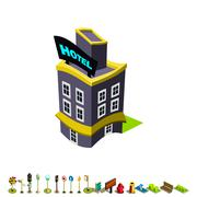 Vector isometric hotel building icon - stock illustration