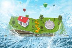 House on open book with timer - stock illustration