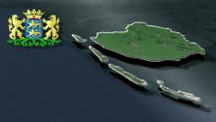 Friesland with Coat of arms animation map Stock Footage