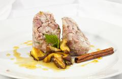 Headcheese with mushrooms Stock Photos