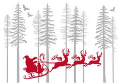Santa Claus with his reindeer in fir forest, vector Stock Illustration