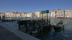 Gondolas moored on Fondamenta Salute in Venice Stock Footage
