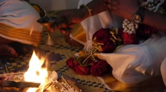 Wedding indian fire blessing Stock Footage