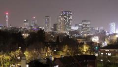 Birmingham, England City Centre Skyline at night zoom in. Stock Footage