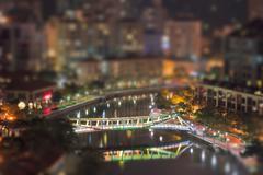 Evening Singapour with tilt-shift lens effect - stock photo