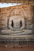 Ancient sitting Buddha image, Gal Vihara, Polonnaruwa, Sri Lanka - stock photo