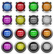 Programming code button set - stock illustration