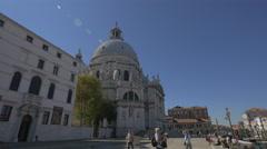 Basilica di Santa Maria della Salute on Fondamenta Salute in Venice Stock Footage