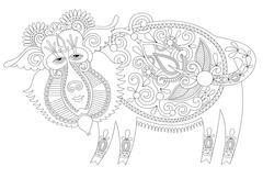 Line drawing in ukrainian karakoko style of decorative unusual f Stock Illustration